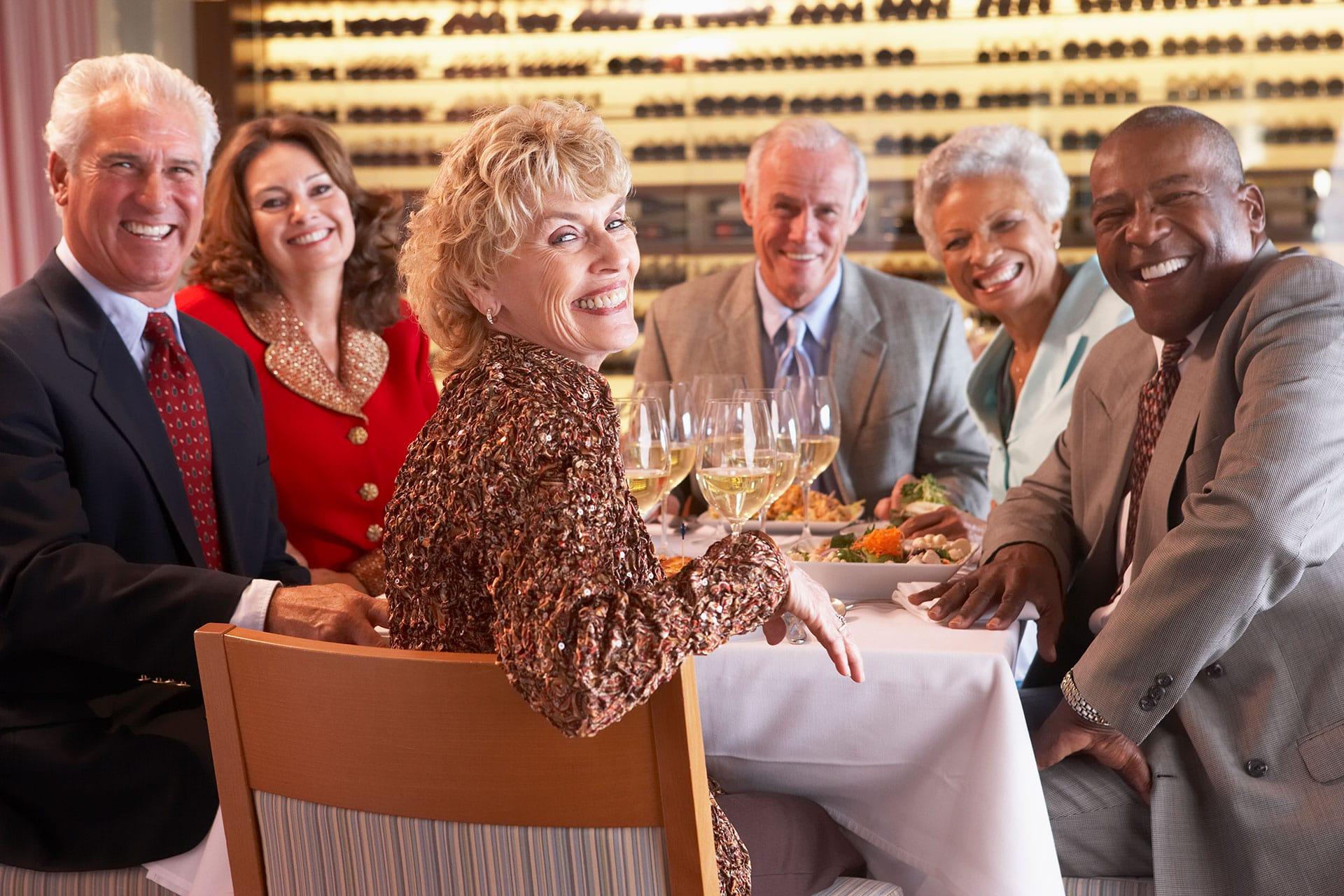 dental implant patients having dinner