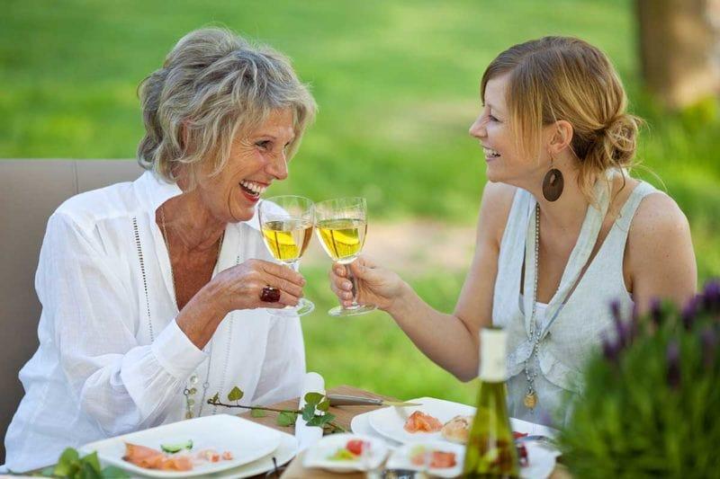smile makeover patients enjoying wine
